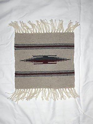 "Ortega's Weaving Shop Chimayo New Mexico Hand Woven 10"" x 10"" 100% Wool Rug"