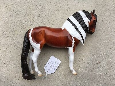Breyer Peter Stone Horse OOAK Andalusian Puddle Tail Glossy Bay Pinto Fabian
