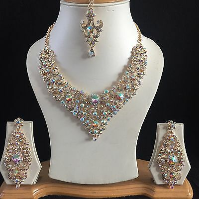 Gold Clear Indian Costume Jewellery Necklace Earrings Diamond Rainbow Set New 2