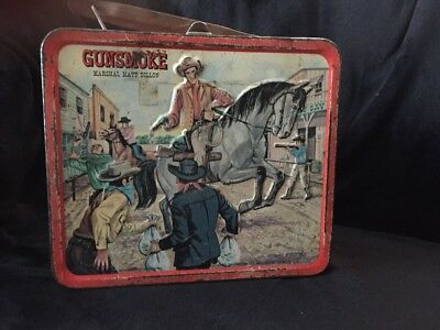 Vintage 1962 Aladdin Gunsmoke Marshal Matt Dillon Metal Lunchbox
