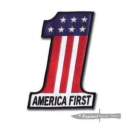 "5 1/2"" X 4"" America First Embroidered Patch - Donald Trump - HD Motorcycle - GOP"