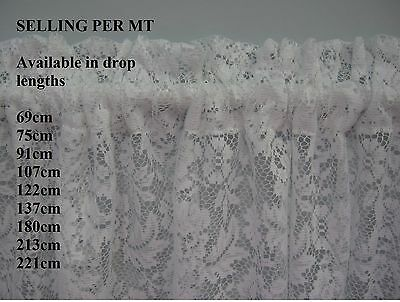 NEW WHITE CONTINUOUS LACE CURTAIN, ROD POCKET, 221cm  LENGTH selling per mt
