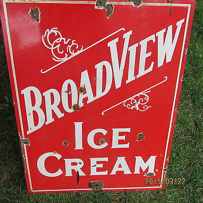 antique 2 sided procelain Ice Cream Sign - COOL SIGN