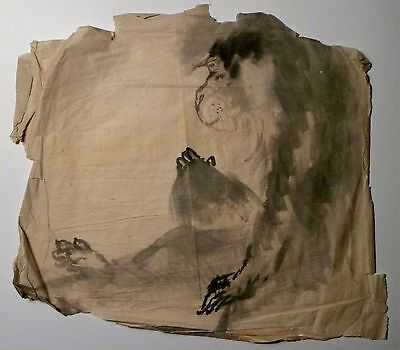 2403. Original 19th c Japanese Ink Drawing on Tissue Sumi-e Snow Monkey Macaque