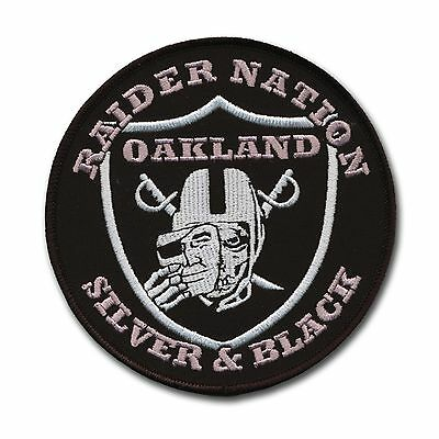 """Large Oakland Raider Football Nation Patch (4 1/2"""") Silver and Black Pride - NFL"""
