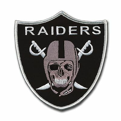 """Large Oakland Raider Skull Patch (5"""" X 4 3/4"""") Great Detail - Silver and Black"""