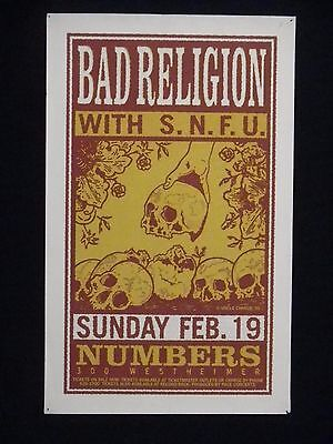 """Bad Religion w/ S.N.F.U at Numbers CONCERT POSTER 1995 - 20"""" x 32"""""""