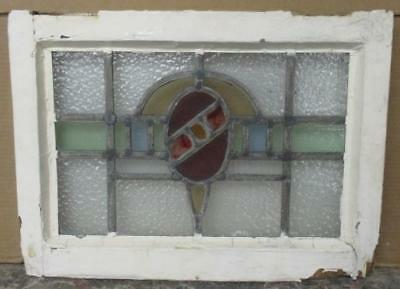 "OLD ENGLISH LEADED STAINED GLASS WINDOW Colorful Abstract Geometric 20"" x 15"""