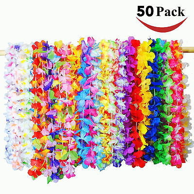 50 Pcs Tropical Hawaiian Luau Flower Leis Party Favors Tropical Events Supplies