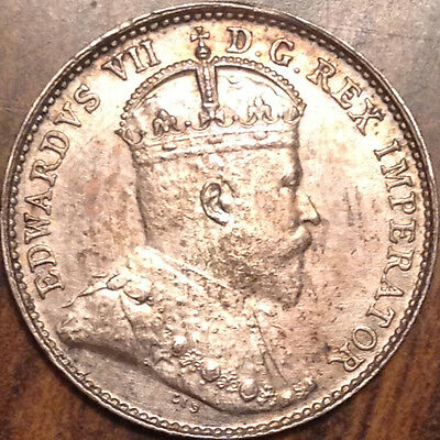 """1908 """"small 8"""" Canada Silver 5 Cents Near Uncirculated"""
