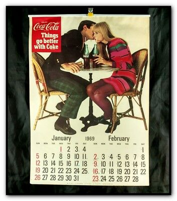 Vtg 1969 Coca Cola Complete 6 Page Calendar Things Go Better With Coke Soda Pop