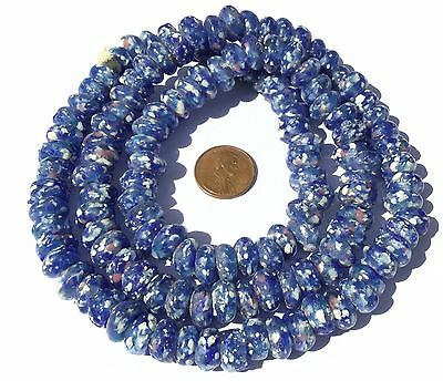 Ghana African Matched Fancy Blue Crums Recycled glass trade beads