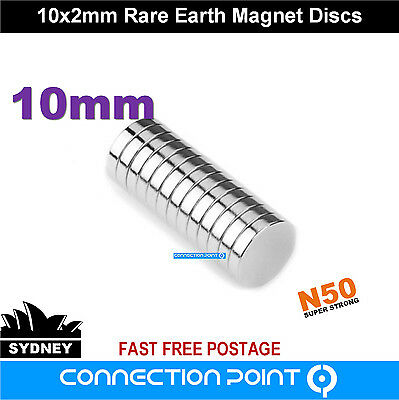 10mm x 2mm Rare Earth Magnets Round Discs N50 Neodymium Super Strong