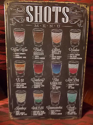 shots  tin metal sign MAN CAVE brand new or for the  bar
