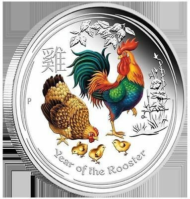 2017 Australian Lunar Series Rooster Silver Proof Coloured 1oz Coin - Perth Mint