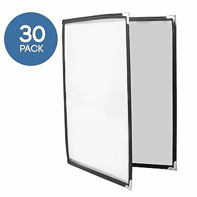 30 Pack of Menu Covers - Double Page, 4 View, Fits 8.5 x 11 Inch Paper - Menu