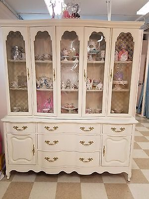 Shabby Chic White Antique China Cabinet with Hutch