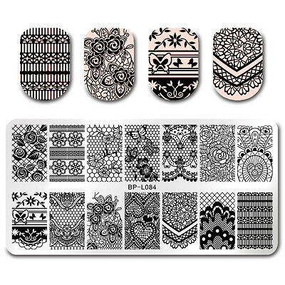 Nail Art Stamping Template Elegant Floral Lace Butterfly Nails Image Stamp Plate
