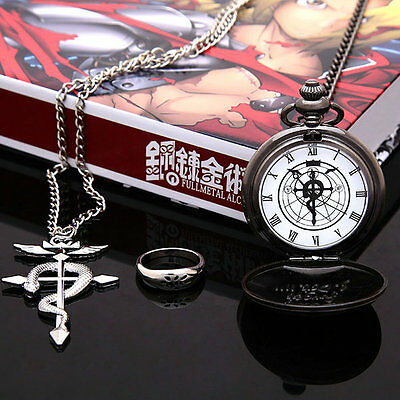 Cosplay Fullmetal Alchemist Stainless Steel Pocket Watch+Necklace+Ring With Box
