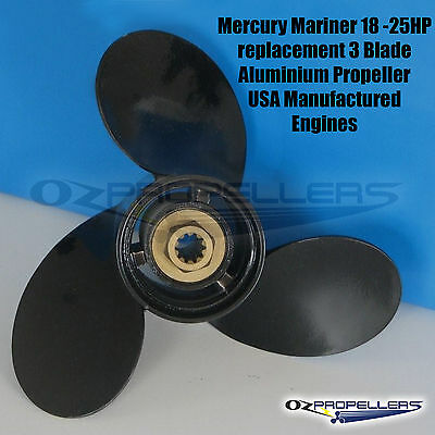 10 3/8 x 13 MERCURY MARINER Propeller 18-25hp 3 Blade Quality Outboard Prop
