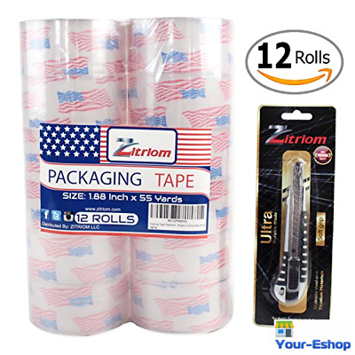 Clear 2 Mil Packing Packaging Tape Rolls Heavy Duty Shipping Mailing 12 Lot Bulk