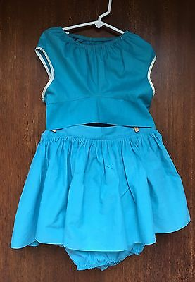 Vintage 1960s Girls Turquoise Cotton Skirt Top Summer Set