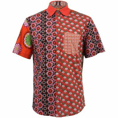 ed725049 Mens Loud Shirt Retro Psychedelic Funky Party REGULAR Red Mixed Random
