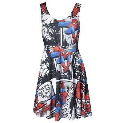 Offiziell Damen Marvel Comics Spider-Man Comic Bedrucktes Kleid - Damen