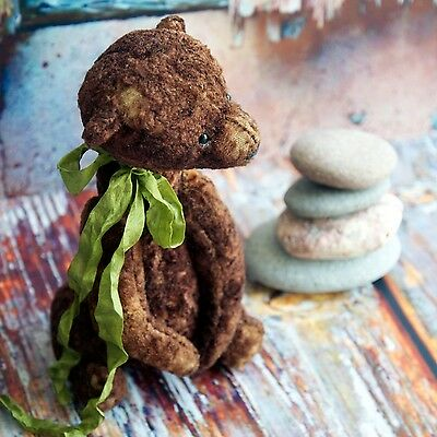 Collectible Teddy bear CHOCOLATE created with brown vintage plush