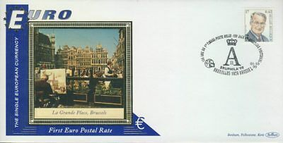 Brussels Belgium Bruxelles La Grand Place EURO currency 1st postal stamps 199...