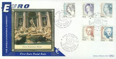 Italy Lire-EURO currency 1st postal stamps 1999 Trevi Fountain Rome Roma BENH...