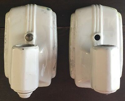 Old Vtg Antique Porcelain Bath Sconce Pair Ceramic Light Fixture White Decor