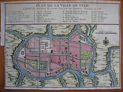 1751 - BELLIN - THAILAND  City plan SIAM Hand colored