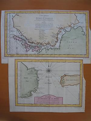 1753 - BELLIN - 2 Maps STRAITS of MAGELLAN & LE MAIRE Land of Fire