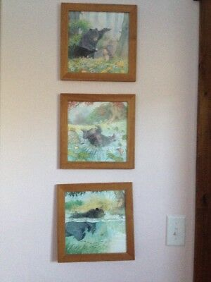 IKEA Animal Pictures Set 3 Wood Framed Plastic Covering Cardboard