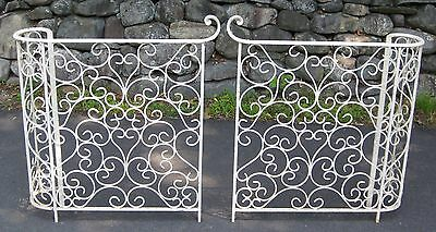Pair Vintage Antique Mid-Century Wrought Iron Porch Railings Entrance Stairs