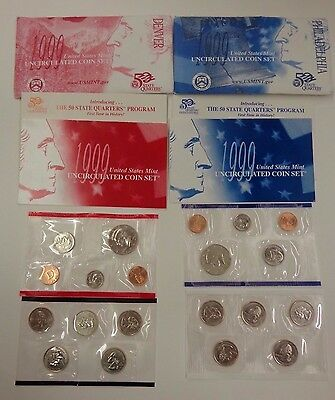 United States Mint 1999 Uncirculated Coin Set 20 coins Denver & Philadelphia