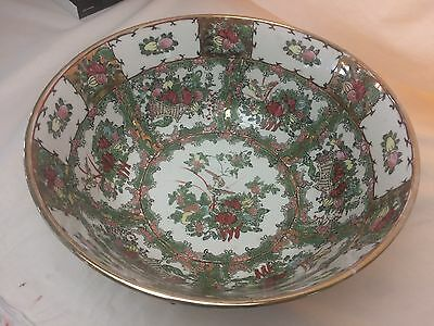 ANTIQUE CHINESE PORCELAIN FAMILLE ROSE BUTTERFLY BIRDS  LARGE BOWL19th Century!