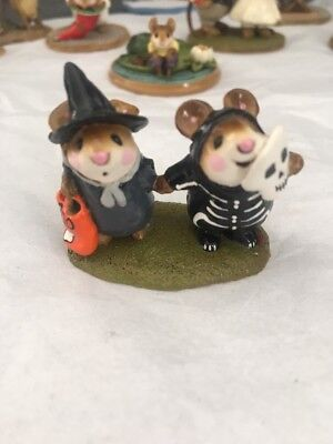 "Wee Forest Folk- M155- ""littlest Witch & Skeleton""-1987-Retired-Mint!"