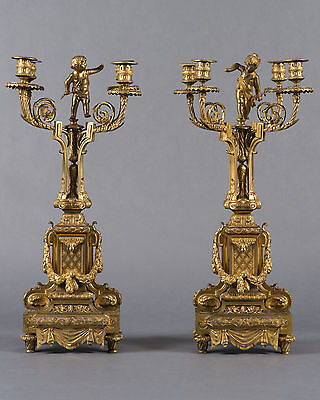 A Pair of Napoleon III French Gilt Bronze Four-branch Figural Candelabras