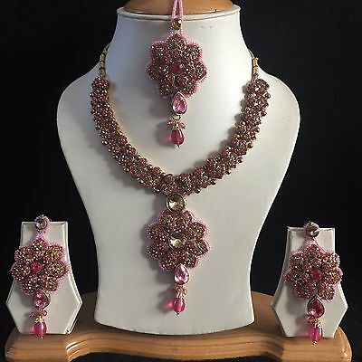 Pink Beige Gold Indian Costume Jewellery Necklace Earrings Crystal Set New 165