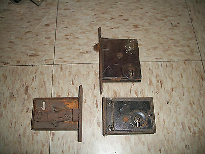 3 OLD CAST IRON ANTIQUE VICTORIAN DOOR RIM LOCK LATCH for Parts