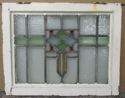 MID SIZED OLD ENGLISH LEADED STAINED GLASS WINDOW Intricate Abstract 23.5 x 18.5