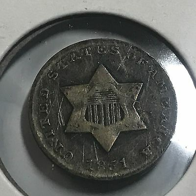 1851 Three Cent Silver Variety I Type Coin