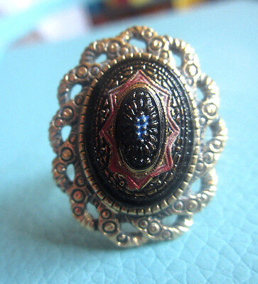 """Vintage SARAH COVENTRY """"OLD VIENNA"""" PRESSED GLASS RING Victorian Black Red Blue"""