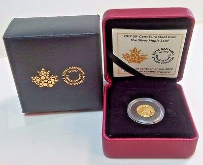 2017 PROOF 50-Cent 99.99% Pure Gold Coin THE SILVER MAPLE LEAF 1.27 grams