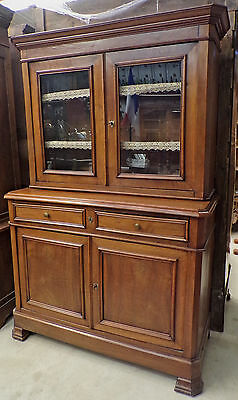 LOUIS PHILIPPE ANTIQUE FRENCH WALNUT CHINA CABINET circa 1890