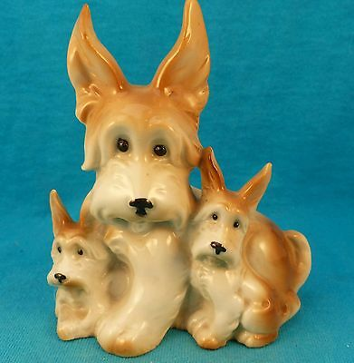 old antique skye terrier Mom dog and 2 puppy pups FREE SHIPPING Germany vintage