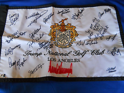 Donald Trump Auto On Trump National Golf Club Banner(La)-With Coa/ Free Ship !