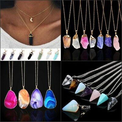 Unisex Irregular Necklace Natural Crystal Quartz Stone Gemstone Pendant Jewelry